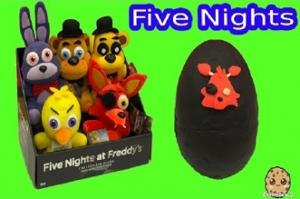 Five Nights At Freddy's Plush & Surprise Playdoh Egg & 3 FNAF Blind Bag Box